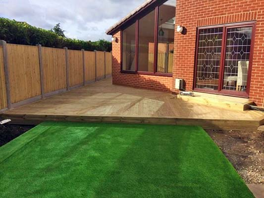 A garden in Castleford where we erected a fence, and laid decking and a lawn.
